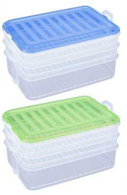 BPA Free Plastic 3 Piece Stacking Food Storage Box Container with Lid