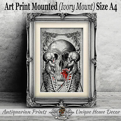 Love Skeleton Art Print on Antique Dictionary Book Page Wall Decor Skull Picture