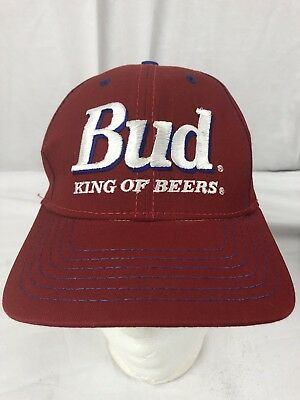 abc2d2a1572 Vintage Budweiser King of Beers Snapback Hat Red ADULT USA TRUCKER BLUE  STITCH