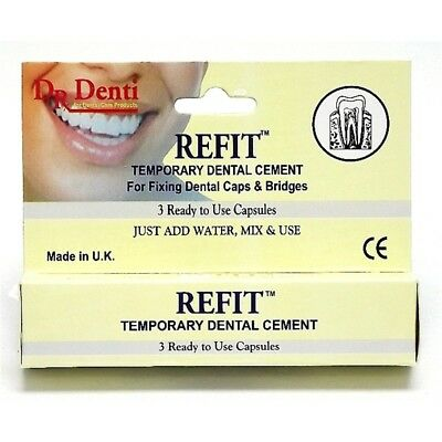 Dr Denti Refit Tooth Cement - Capsules Temporary Dental 3 1 Pack
