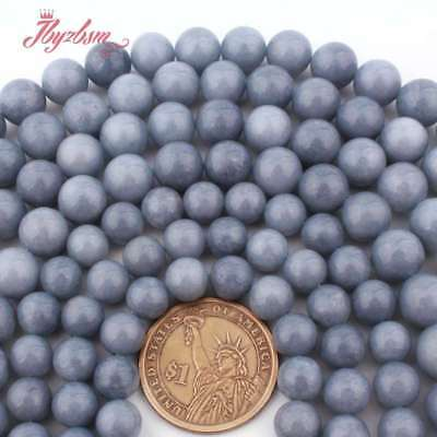 """Natural Round Natural Blue Angelite Jade Stone Loose Bead for Jewelry Making 15"""""""