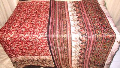 Red Black Pure Silk 4 yd Vintage Antique Sari Saree Indian South Africa #99AS7