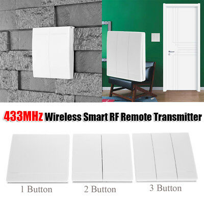 433MHz RF Wireless Remote Control Transmitter Switch Wall Panel 1/2/3 Button