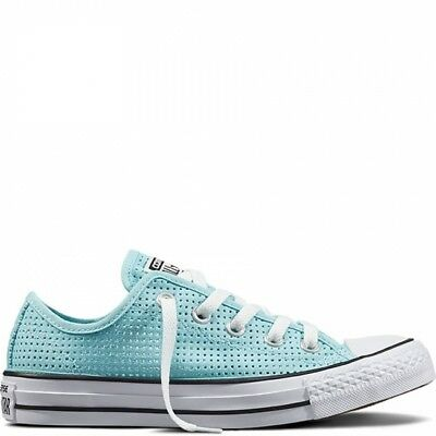 cheap for discount 955cc eaca6 Converse Chuck Taylor All Star Ox Perforated Motel Pool Aqua Low Top  Sneakers 6