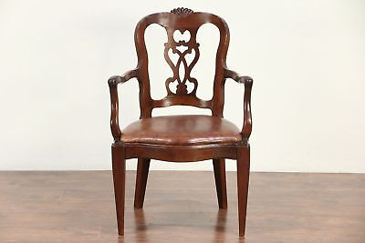 Italian Antique 1840 Desk or Occasional Chair, Carved Walnut #29420