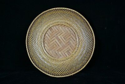 Vintage Asian Basket Basketry Tray or Lid, Fine Plaiting Weave GREAT WALL HANGER