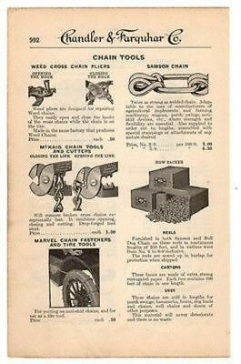 Chain Tools 1919 Catalog AD Chain Cutters Tire Tools Chains Advertising