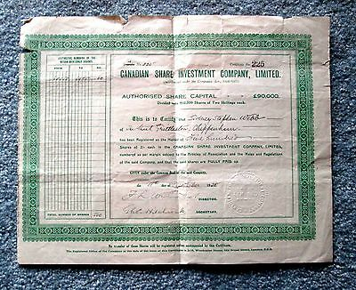 Canadian Share Investment Company Stock Certificate 1928 t7u