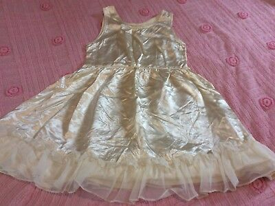 Vintage Girls Satin Ivory Color Full Slip Fully Lined Tulle Ruffle Bottom 10-12