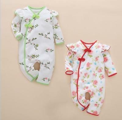 Newborn infant Baby clothes girls bodysuit cotton Chinese style jumpers floral