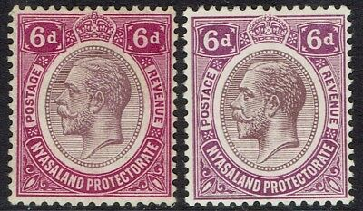 Nyasaland 1913 Kgv 6D Both Shades Wmk Multi Crown Ca