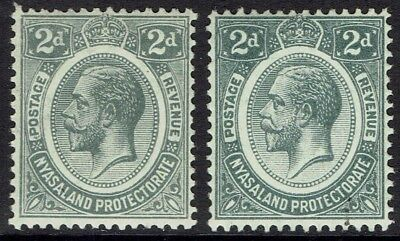 Nyasaland 1913 Kgv 2D Both Shades Wmk Multi Crown Ca