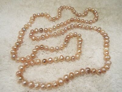 Long PINK Cultured Freshwater Pearl Necklace (A27)