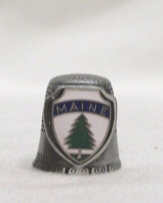 Maine Porcelain Thimble with Evergreen Tree