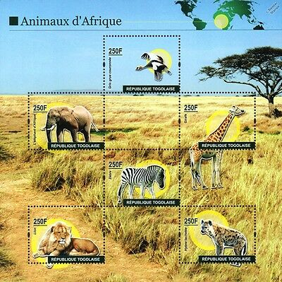 Wild Animals of Africa Stamp Sheet (Lion/Elephant/Zebra/Giraffe/Hyena/Crane)