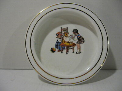 Late 1800s Harker Pottery Child's Cereal Bowl - Feeding Teddy Bear - Crazing