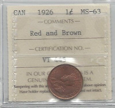 **1926**,ICCS Graded Canadian, Small One Cent, **MS-63**