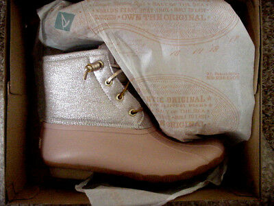 d81d562e990 NIB Sperry Top-Sider Saltwater Metallic Rose Duck Boot Short Womens Sz 6.5-9