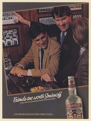 1986 Friends are Worth Smirnoff Vodka Football Guys Print Ad