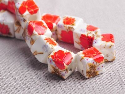 NEW 10pcs 10mm Cube Square Ceramic Spacer Loose Beads Flowers Pattern #9