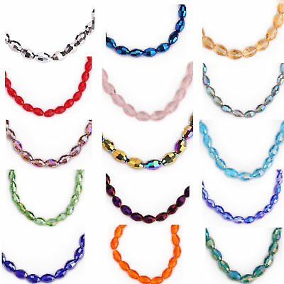 8x6mm 25PCS Charms Rugby Crystal Oval Glass Loose Beads DIY Jewelry Bracelet New