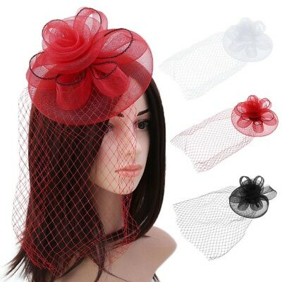 Kentucky Derby Women Fascinator Hats Big Flower Solid Cocktail Party Hair Clip