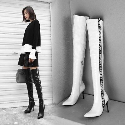 Sexy Women Pointed Toe Stiletto High Heel Over the Knee Thigh Boots Party Pumps