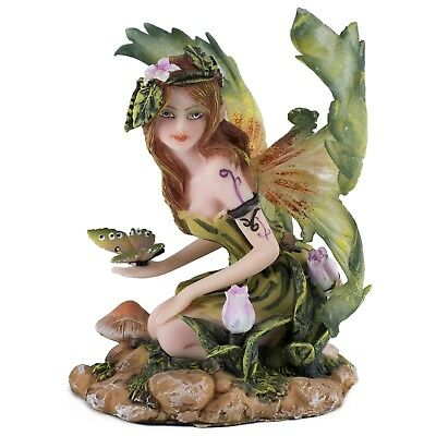 """Green Fairy With Butterfly Figurine 5"""" Wing Span New In Box!"""