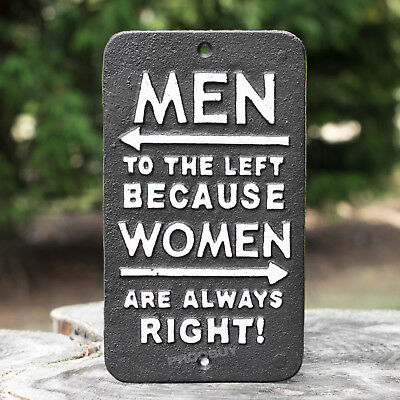 Cast Iron Women Always Right Novelty Wall Sign Outdoor Back Garden Patio Plaque