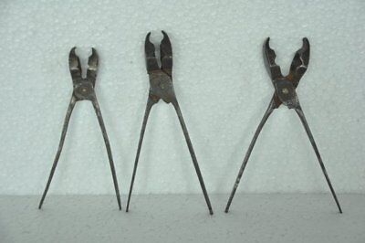 3 Pc Old Iron Solid Handcrafted Bullet  Making Tool , Rich Patina