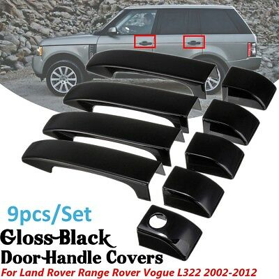 9Pcs Gloss Black Door Handle Covers w/hole For Land Rover Range Vogue L322 02-12
