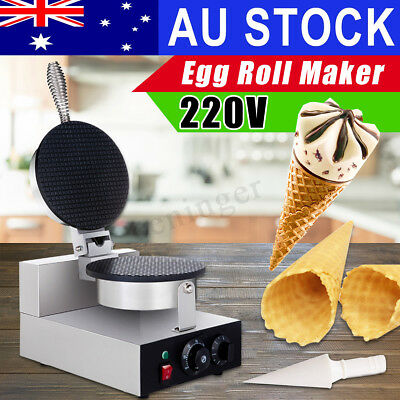 AU 220V Stainless Steel Ice Cream Cone Waffle Baker Machine Home Egg Roll Maker