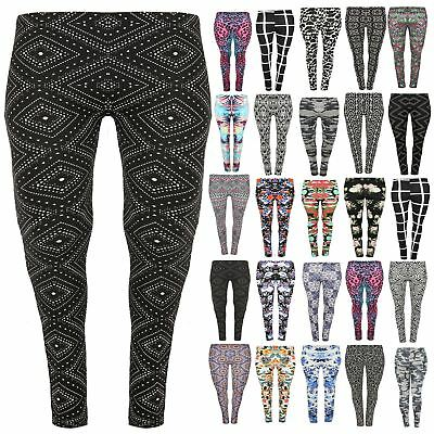 Plus Size Ladies Floral Aztec Print Stretchy Legging Women Ankle Length Jeggings