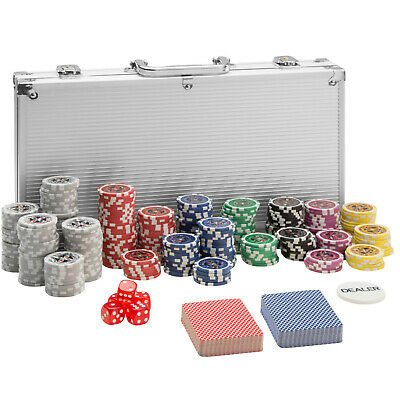 Pokerkoffer Pokerset 300 Chips Laser Pokerchips Poker Set Jetons Alu Koffer Silb