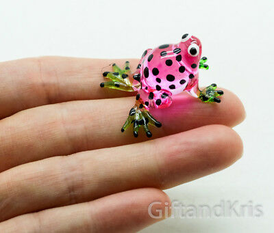 Figurine Animal Miniature Hand Blown Glass Pink Frog - GPFR087