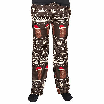 Adult Unisex Star Wars Chewbacca Ships Christmas Brown Lounge  Pants