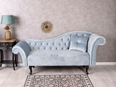 Glamour Sofa Samt Couch Aquamarin Polstersofa Liege Loungesofa Recamiere Vintage