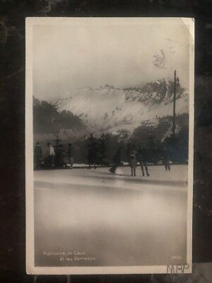1938 Caux Switzerland RPPC Postcard Cover To Paris France Ice Skating