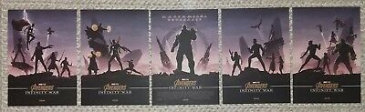 Marvel Avengers Infinity War Odeon Exclusive A4 Prints MINT - complete set of 5