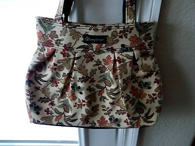Longaberger FABRIC TOTE / PURSE - Autumn Path - Falling Leaves - NEW - Pretty!