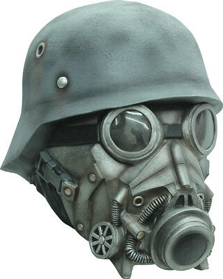 Chemical Warfare Gas Mask & Helmet Latex Halloween Head Mask