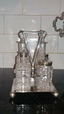 Stylish Antique John Round Silver Plated and Crystal Cut Glass Cruet Set C 1888