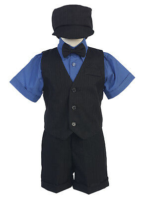 Baby Toddler Kids Boys Black Royal Blue Shorts Suit Set Outfit Wedding Easter