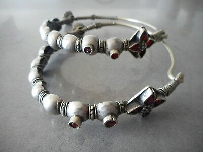 Large Old Coin Silver Indian / Rajasthan Earrings / Bangles