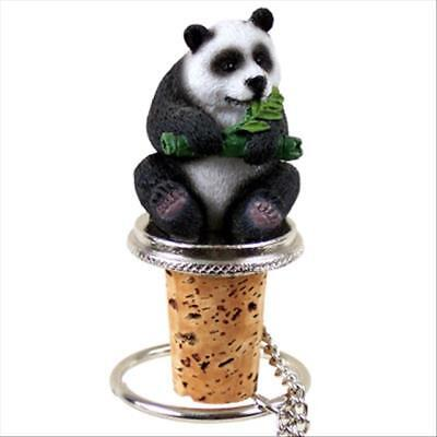 Panda Bear Hand Painted Resin Figurine Wine Bottle Stopper