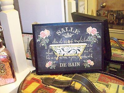Vintage FRENCH bathroom sign block chalkboard look Shabby Paris chic wall decor