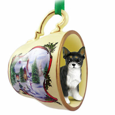 Chihuahua Christmas Teacup Ornament Blk