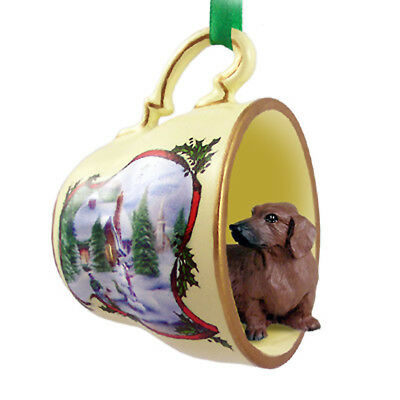 Dachshund Christmas Ornament Teacup Red