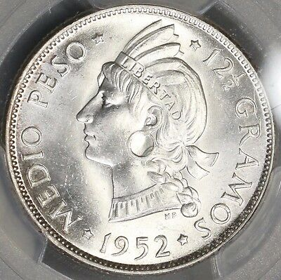 1952 PCGS MS 64 Dominican Republic 1/2 Peso 50 Centavos Coin (16102302D)