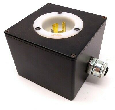 Hubbell HBL2415 Turn-Locking Male Receptacle & Enclosure, 125/250V, 20A, 3 Pole